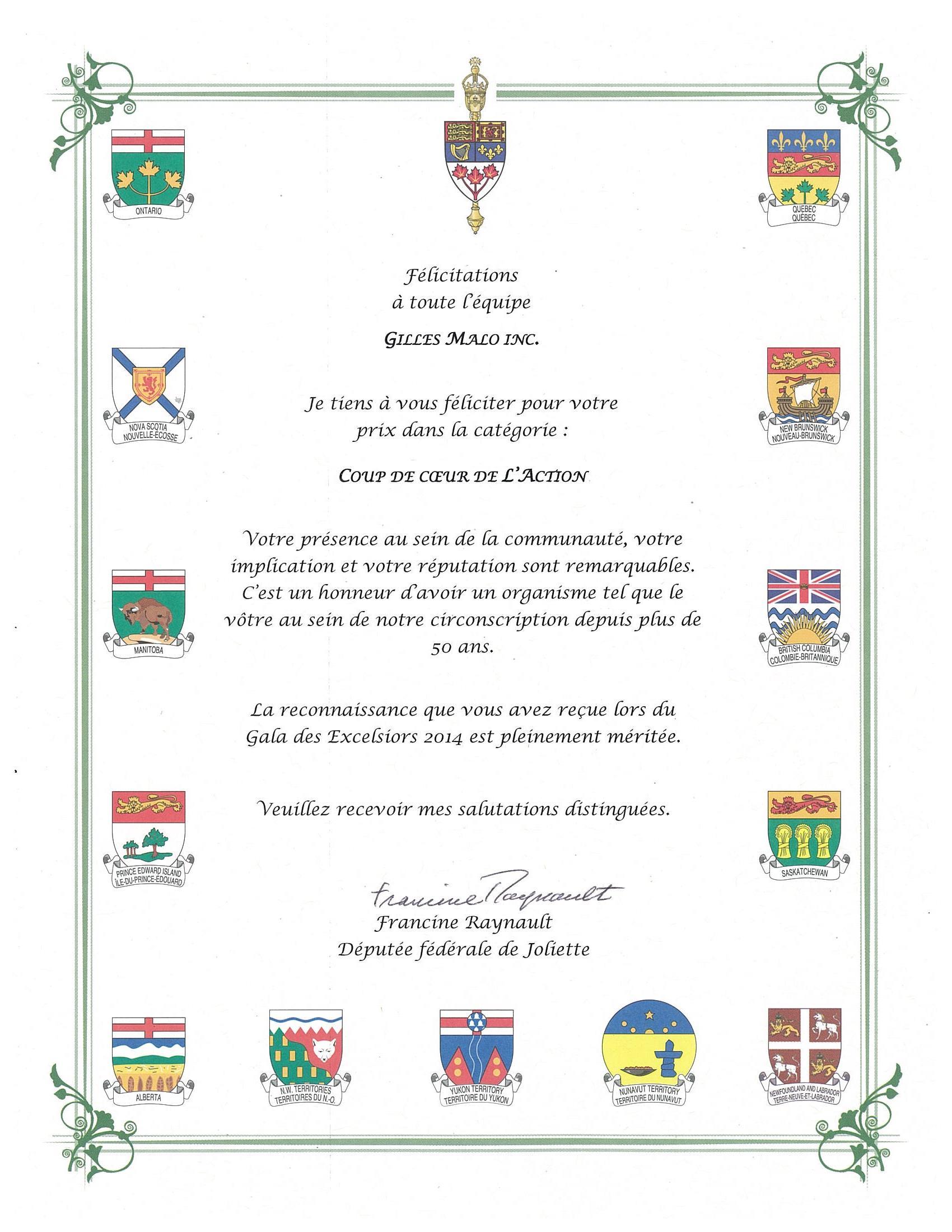 lettre députée joliette